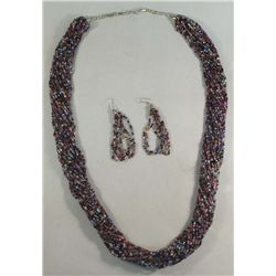 30 Strand Trade Bead Necklace & Earrings