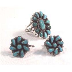 Vintage Estate Navajo Turquoise Ring & Earrings