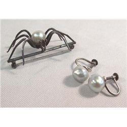 Vintage Estate Pearl Earrings & Spider Pin