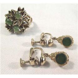 Vintage Jade Ring & Earrings