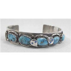 Vintage Sterling Turquoise Snake Bracelet - Effie