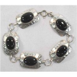 Sterling Jet Concho Chain Bracelet Hallmark