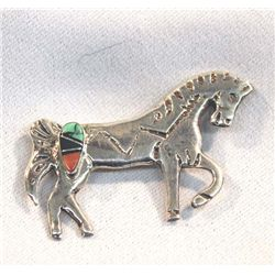 Navajo Silver Channel Inlay Horse Pin