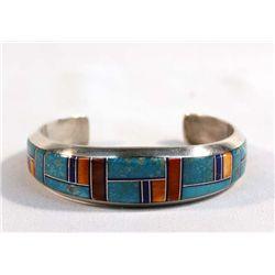Navajo Silver Channel Inlay Bracelet-P. Sanchez