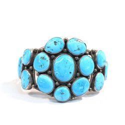 Navajo Silver Turquoise Bracelet-Roie Jacque