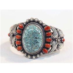 Navajo Turquoise Coral Silver Bracelet-Kirk Smith
