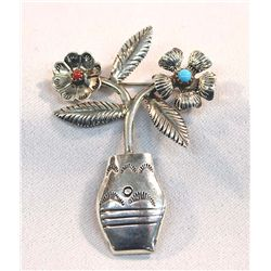 Navajo & Silver Turquoise Coral Flower Pot Pin