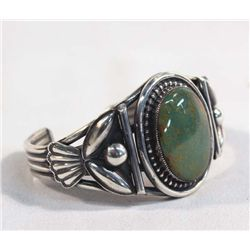 Navajo Silver Turquoise Bracelet-Martinez