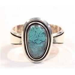 Navajo Silver Turquoise Bracelet-Elkie Desiderio