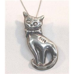 Mexican Taxco Sterling Cat Pendant/Pin