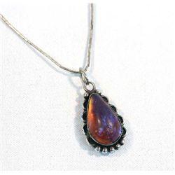 Fire Opal Pendant Liquid Silver Necklace