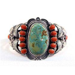 Navajo Silver Turquoise Coral Bracelet-Kirk Smith