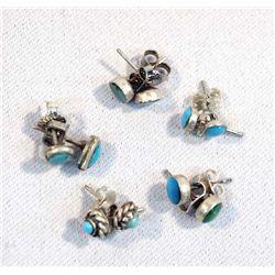40 Pair Turquoise Post Earrings