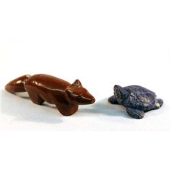 Zuni Lapis Lazuli Turtle Fetish and Pipestone Fox