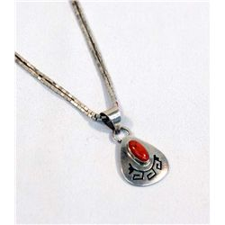 Hopi Sterling Silver Coral Necklace - Hallmark