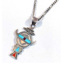 Zuni Sterling Turquoise Coral Necklace - RB