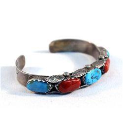 Navajo Turquoise Coral Bracelet - H Penketewa