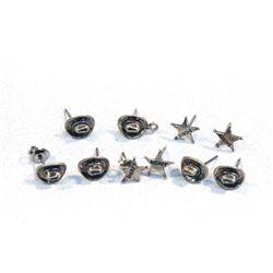 Nine Pair ''Texas'' Post Earrings - Hats & Badges