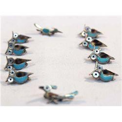 10 Zuni Silver Channel Inlay Owl, Roadrunner Pins