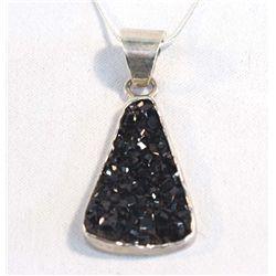 Sterling Silver Black Druzy Pendant Necklace