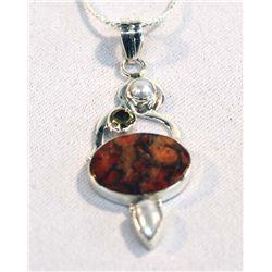 Sterling Silver Jasper Pendant Necklace
