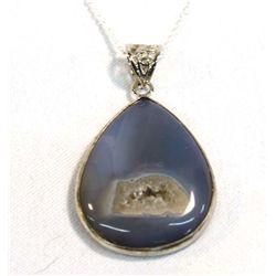 Sterling Silver Blue Druzy Pendant Necklace