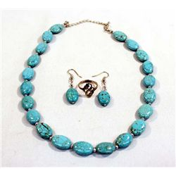 Southwestern Turquoise Necklace, Ring & Earrings