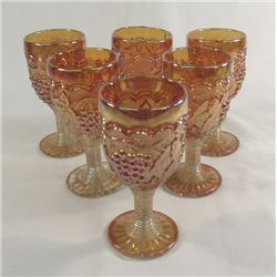 Imperial Carnival Glass-6 Wines 4'' Grape Pattern