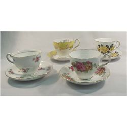 Collection of English Bone China Tea Cups, 4 Pcs.