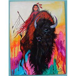 Original Painting-Kills Thunder ''Buffalo Journey''