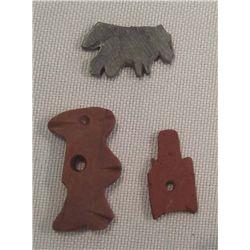 3 Native American Flat Stone Fetish