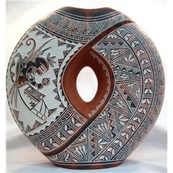 Large Acoma Etched Pottery - R. N. Sanchez