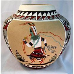 Large Acoma Sand Painting Jar - Robin Aragon