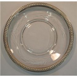 Vintage Crystal Dish With Silver Border
