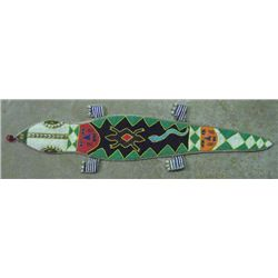 Vintage African Hand Beaded Alligator Wall Hanging