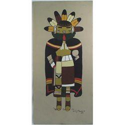 Hopi Kachina Painting on Board - C J Prophet