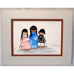Original Watercolor by Kay - 3 Indian Children
