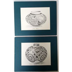 Signed Prints of Hopi, Acoma Jars by Paula Beck