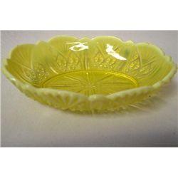 Yellow Vaseline & Opalescent Serving Dish