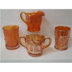 Carnival Glass Cream & Sugar and Two Tumblers
