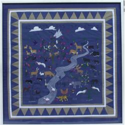 Hmong Framed Hand Made Pictorial Childrens Quilt