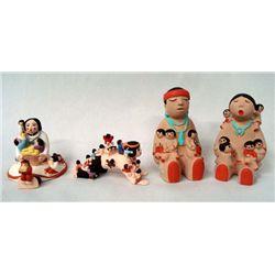 4 Miniature Composition Storyteller Dolls