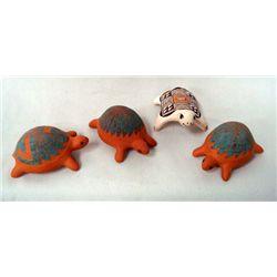 4Tradtional  Acoma Miniature Pottery Turtles
