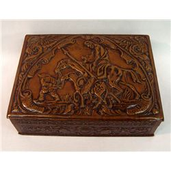 Embossed Leather Covered Cigar Box