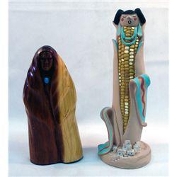 2 Native American Statues