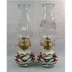 2 Isleta Pueblo Ceramic Oil Lamps Signed