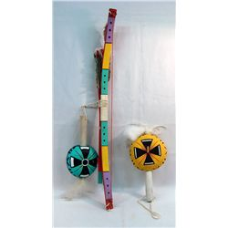 Hopi Rattles & Bow with Arrow Shafts