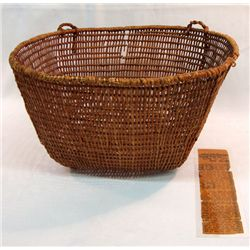 Antique North West Coast Clam Basket With Article