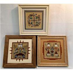 Navajo Three Framed Sand Paintings