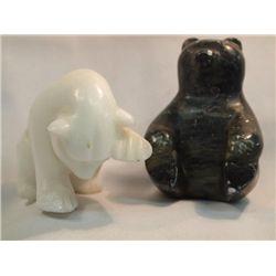 2 Eskimo Soap Stone & Marble Carved Bears